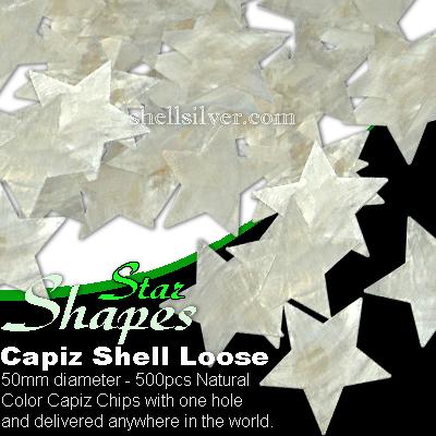 50mm Natural White Star Capiz Loose